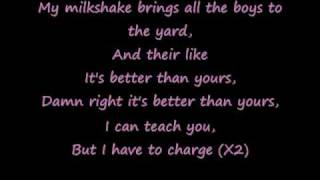 Milkshake with lyrics