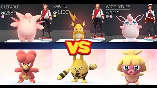 Wigglytuff  - (Pokémon) - POKÉMON GO GYMS Clefable, Wigglytuff, Raichu & Magby Elekid vs Smoochum