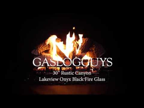 30in Rustic Cayon Lakeview Onyx Black Fire Glass