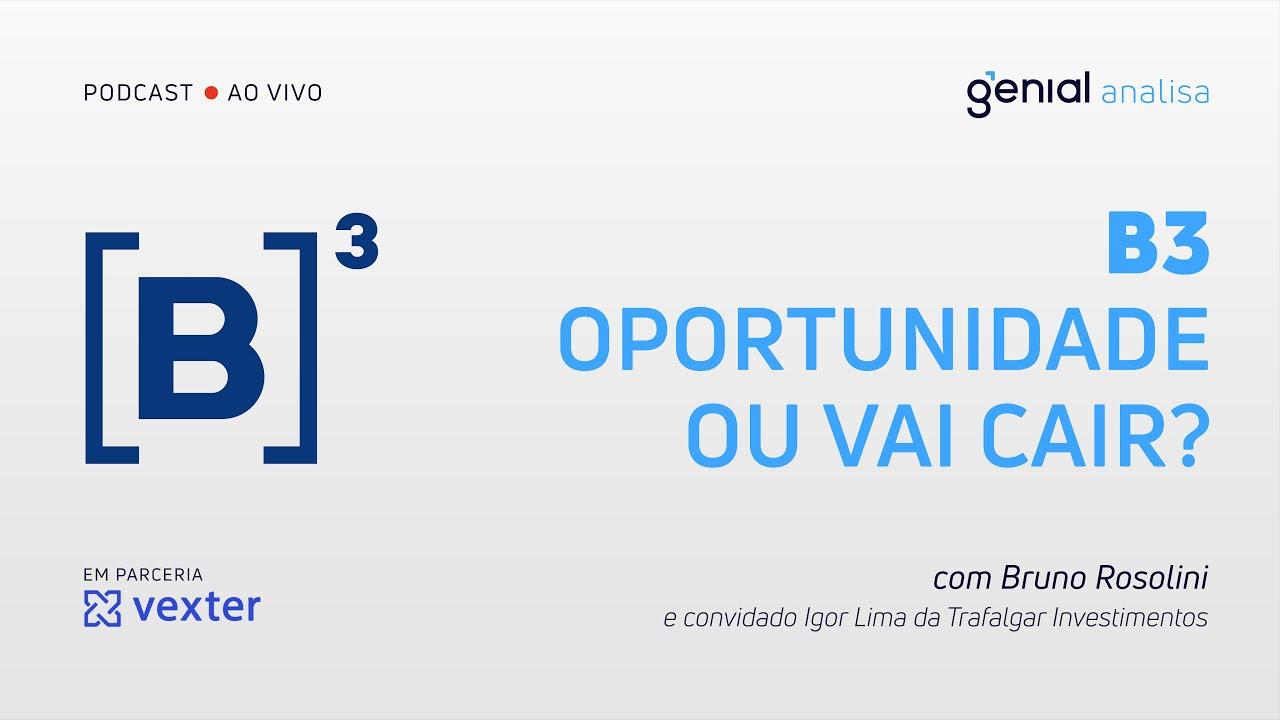 Thumbnail do vídeo: B3 – Oportunidade para compra ou vai cair mais? com Trafalgar | Podcast Genial Analisa