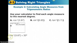 8.3 Solving Right Triangle Video Notes