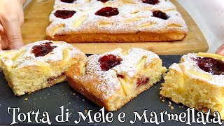TORTA DI MELE E MARMELLATA Sofficissima 🍏🍎 APPLE CAKE WITH CHERRY JAM