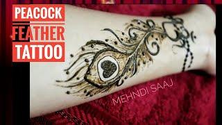 DIY Peacock Feather Mehndi Design   Feather Henna Design   Mor Pankh Tattoo Mehndi   MEHNDI SAAJ