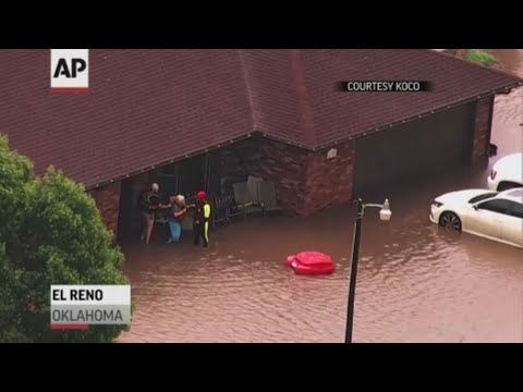 Flooding is an issue in parts of Oklahoma raked by severe storms on Monday. In El Reno and Stillwater, emergency responders were rescuing people from their homes because of high water. (May 21)