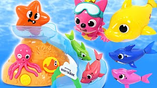 Shark family Let's play in the Water with Pinkfong, Baby Shark!   PinkyPopTOY