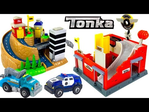 UNBOXING TONKA TINYS CITY RESCUE PLAYSET AND TUNE UP GARAGE PLAYSET WITH RESCUE VEHICLES & TOW TRUCK