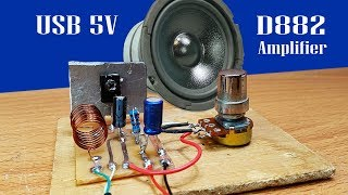 How to Make easy mini amplifier by  transistor D882 using power USB 5V