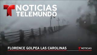 Imágenes desde Carolina del Norte donde tocará tierra el ojo del huracán Florence   Noticiero