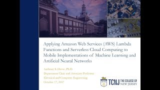 Video of Deese Research Presentation on Machine Learning in the Cloud