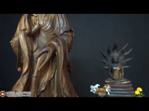 SOLD Beautiful Kwan Yin Wooden Sculpture 66