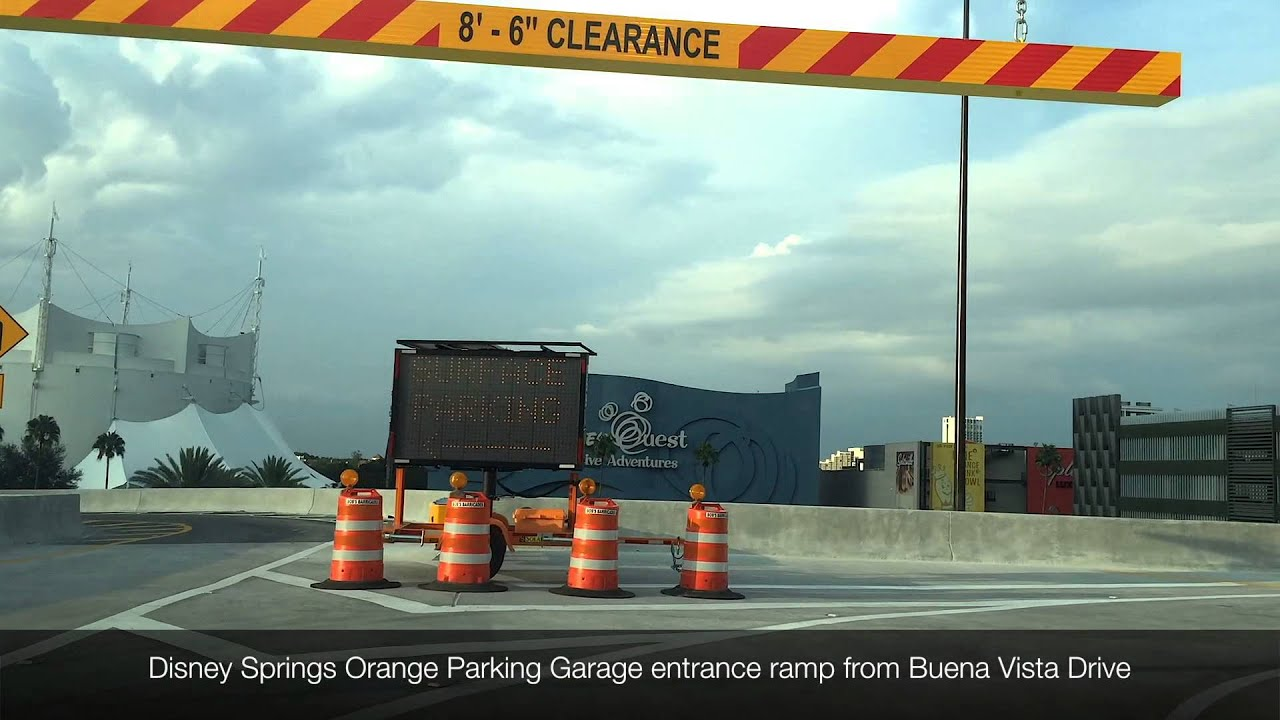 Disney Springs Orange Parking garage entrance flyover