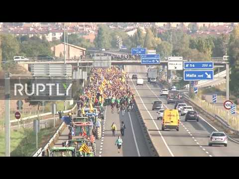 "Spain: Thousands block roads on ""March for Freedom"" heading for Barcelona"