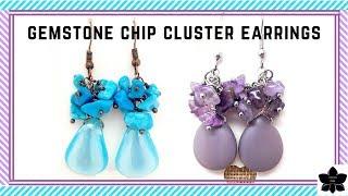 ✨ GEMSTONE CHIP Beaded Cluster Drop Earrings Tutorial ✨ Easy Beaded Jewelry Making ✨ Beebeecraft.com