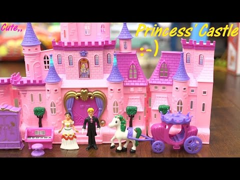 Pink Castle Toy for Little Girls. Princess Castle Play Set Unboxing and Playtime. Toy Channel
