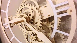 A mechanical clock made from cardboard