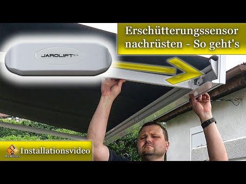 Windsensor / Erschütterungssensor an einer Markise nachrüsten um Sturmschäden zu
