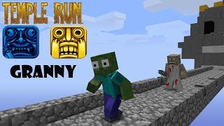 Monster School : GRANNY TEMPLE RUN CHALLENGE - Minecraft Animation