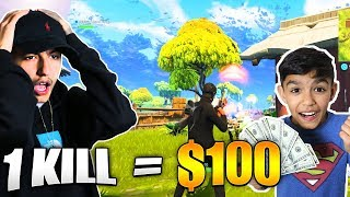 1 Kill = $100 For My 10 Year Old Little Brother! Fortnite Prank On Little Brother!