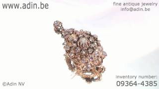 Cheerful Rose Cut Diamond Brooch Pendant, A Joy For The Eye (09364-4385)