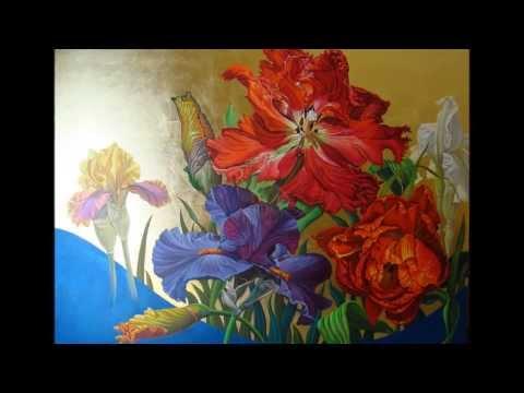Πινακες Ζωγραφικης με λουλουδια ΕΙΡΗΝΗ ΚΑΡΠΙΚΙΩΤΗ - YouTube