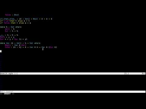 agda-vim Introduction on YouTube