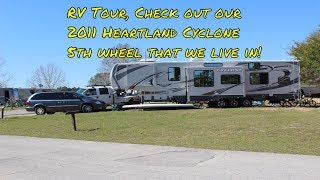 RV Tour:  We live in a 2011 Heartland Cyclone 3612 5th wheel trailer full time with kids