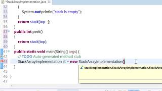 stack implementation using array in java