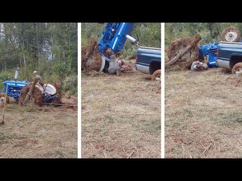 Трактор едва не раздавил тракториста