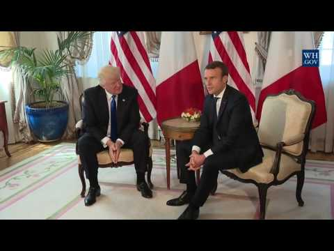 President Trump meets with President Emmanuel Macron of France