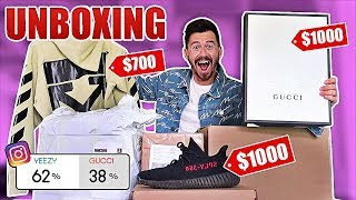 Fans Spend My Money for 24 Hours UNBOXING!! ($3000 DESIGNER SHOPPING SPREE WISH, ASOS, GUCCI, YEEZY)