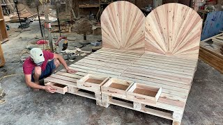 DIY - Amazing How To build A King Size pallet Bed Extremely Simple and Beautiful // Woodworking