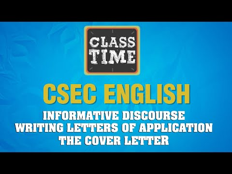 CSEC English Informative Discourse Writing Letters of Application The Cover February 25 2021