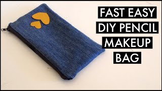 EASY DIY PENCIL MAKE UP BAG OUT OF OLD JEANS/HOW TO. MAKE A PENCIL CASE/RECYCLE/เย็บกระเป๋าใส่ดินสอ