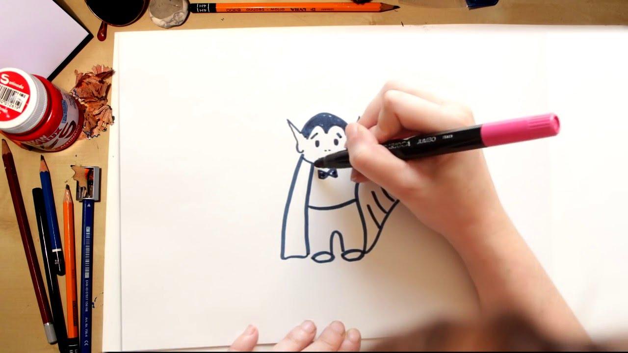 Como dibujar un Vampiro - dibujos de Halloween para niños