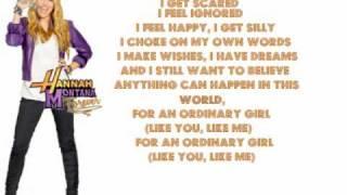 Ordinary Girl - Hannah Montana Forever - Lyrics On Screen (Full)