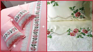 Top Class Hand Embroidered Bedsheets Collection //Embroidery Pattern For Bedsheets
