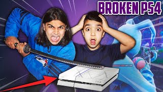 DESTROYING MY 5 YEAR OLD LITTLE BROTHERS PS4!   I BROKE MY BROTHERS PS4 SO HE STOPS PLAYING FORTNITE