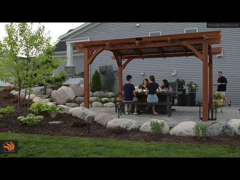 Sonoma Arched Pergola with Kenwood Fire Pit Table
