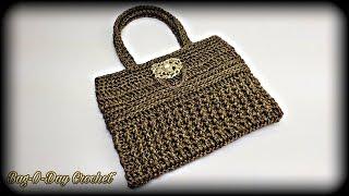 How To Crochet A Bag - 24K Gold Bling Bag | Bag-O-Day Crochet Tutorial #559