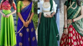 Latest Green Color Combination Dresses || Half Sarees || Gowns || Lehengas || Sikana Trends #1