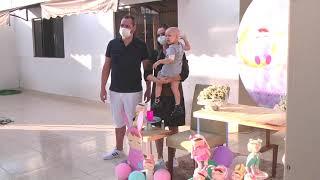 Familiares fazem carreata para comemorar a cura de criança em Patos de Minas