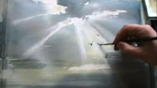 Смотреть онлайн Учимся рисовать небесный свет акварелью