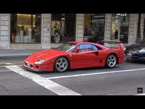 LOUD Ferrari F40 Start Up and Driving in Geneva