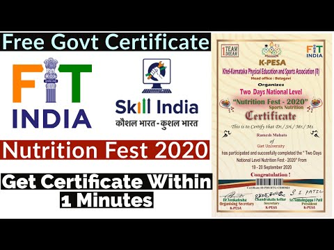 FIT INDIA Certificate | Nutrition Fest - 2020 Free Certificate | Free ...