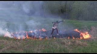Field Arson, Chain Burning Dry Grass. Weekend fun with Flames