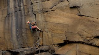 Blind climber Jesse Dufton climbs Forked Lightning Crack (E2 5c), Heptonstall by teamBMC