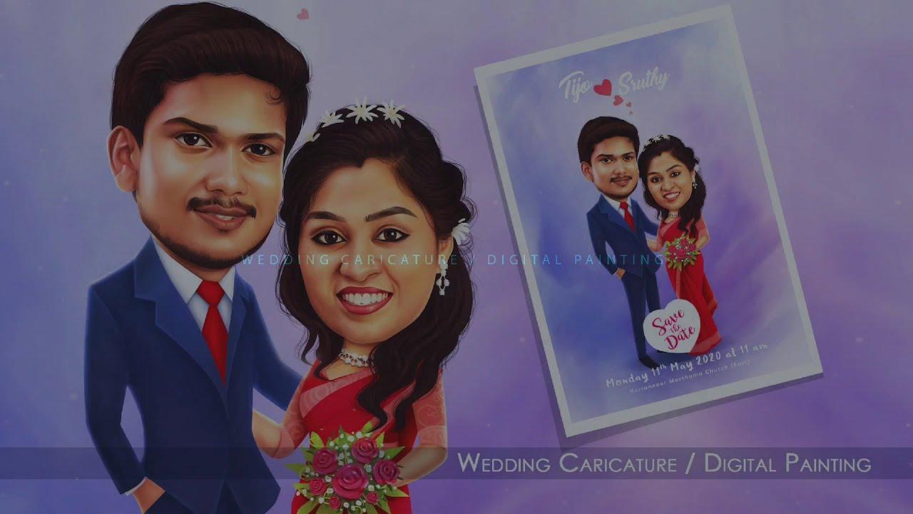 wedding caricature digital painting tutorial by praveen raj