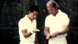 Lew Hoad And Juan Carlos Ovando At LH Tennis Camp.Summer 1971