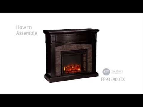 FE9359: Grantham Faux Stone Corner Electric Media Fireplace - Ebony Assembly Video