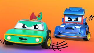 Super Truck -  RACING CAR against the cheating CROCODILE - Car City - Truck Cartoons for kids